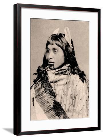 Maori Girl with Moko Chin--Framed Art Print