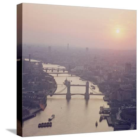 View of the River Thames Featuring Tower Bridge, Looking West--Stretched Canvas Print