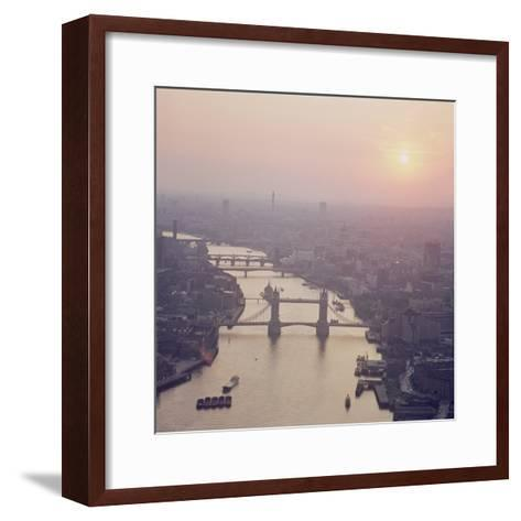 View of the River Thames Featuring Tower Bridge, Looking West--Framed Art Print
