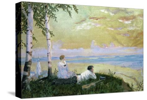 On the Volga-Boris Kustodiyev-Stretched Canvas Print