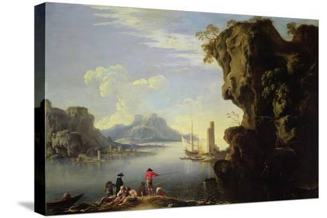 Coastal Scene with Fishermen-Salvator Rosa-Stretched Canvas Print