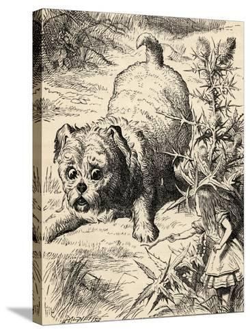 Alice Shrinks and Meets the Puppy, from 'Alice's Adventures in Wonderland' by Lewis Carroll,…-John Tenniel-Stretched Canvas Print