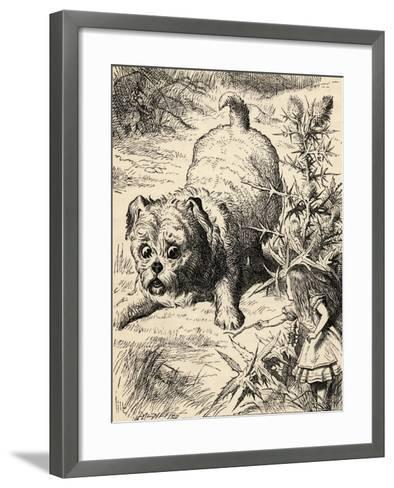 Alice Shrinks and Meets the Puppy, from 'Alice's Adventures in Wonderland' by Lewis Carroll,…-John Tenniel-Framed Art Print