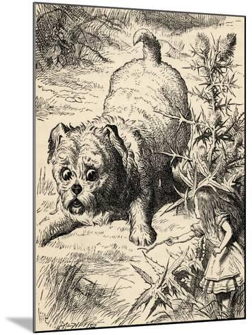 Alice Shrinks and Meets the Puppy, from 'Alice's Adventures in Wonderland' by Lewis Carroll,…-John Tenniel-Mounted Giclee Print