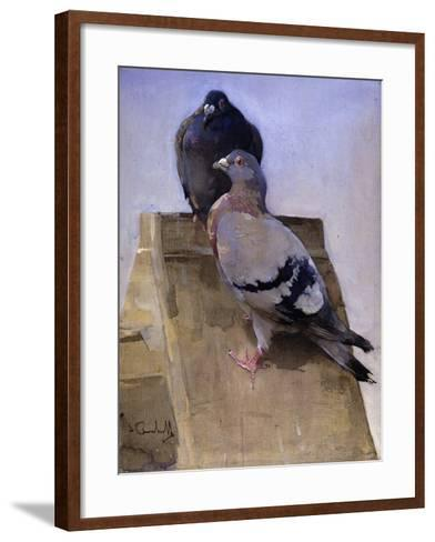 Pigeons on the Roof-Joseph Crawhall-Framed Art Print
