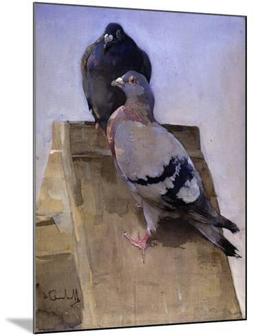 Pigeons on the Roof-Joseph Crawhall-Mounted Giclee Print