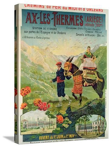 Poster Advertising the Ski Resort of Ax-Les-Thermes, France, C.1900--Stretched Canvas Print