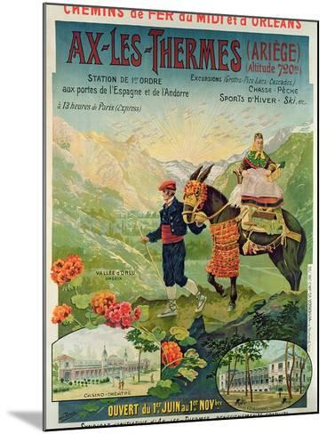 Poster Advertising the Ski Resort of Ax-Les-Thermes, France, C.1900--Mounted Giclee Print