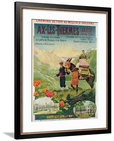 Poster Advertising the Ski Resort of Ax-Les-Thermes, France, C.1900--Framed Art Print