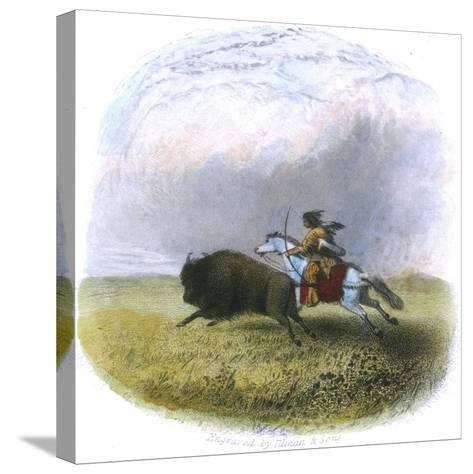 Buffalo Hunt, Engraved by Tilman and Sons, 1853-Seth Eastman-Stretched Canvas Print