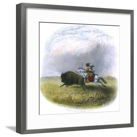 Buffalo Hunt, Engraved by Tilman and Sons, 1853-Seth Eastman-Framed Art Print