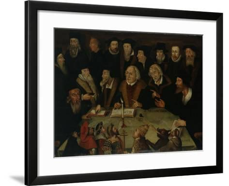 Martin Luther in the Circle of Reformers, 1625-50-German School-Framed Art Print