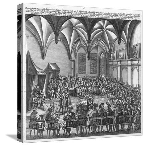 Reading of the Augsburg Confession on 25 June 1530 in the Augsburger Reichstag, C.1530-German School-Stretched Canvas Print