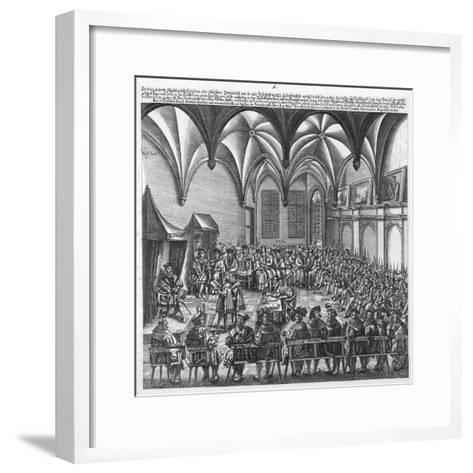 Reading of the Augsburg Confession on 25 June 1530 in the Augsburger Reichstag, C.1530-German School-Framed Art Print