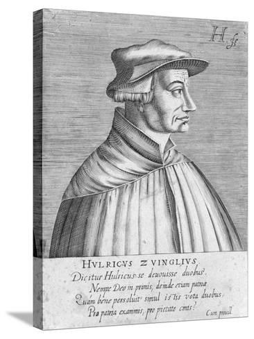 Portrait of Huldrych Zwingli, Published by Hondius, 1588-1649-German School-Stretched Canvas Print