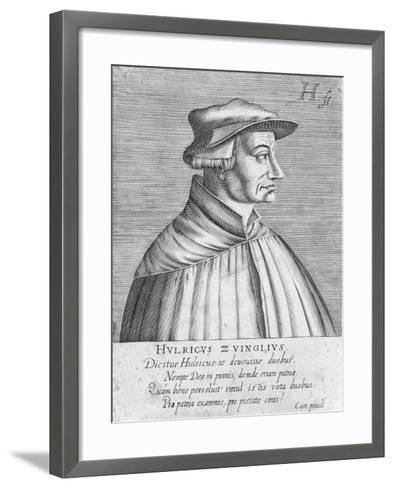 Portrait of Huldrych Zwingli, Published by Hondius, 1588-1649-German School-Framed Art Print