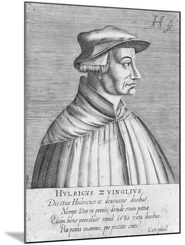 Portrait of Huldrych Zwingli, Published by Hondius, 1588-1649-German School-Mounted Giclee Print