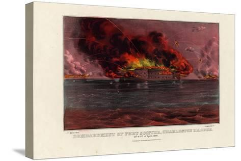 Bombardment of Fort Sumter, Charleston Harbor, 12th and 13th of April 1861, Pub. by Currier and…--Stretched Canvas Print