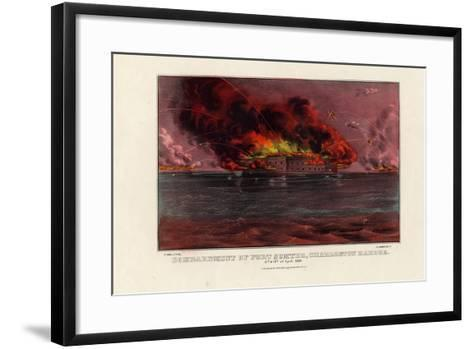 Bombardment of Fort Sumter, Charleston Harbor, 12th and 13th of April 1861, Pub. by Currier and…--Framed Art Print