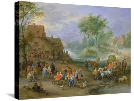 A Village Landscape with Figures Making Merry and Travellers Passing Through a Stream-Theobald Michau-Stretched Canvas Print
