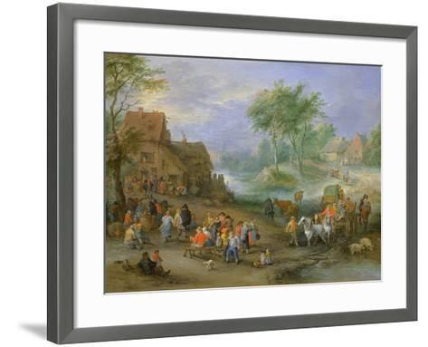 A Village Landscape with Figures Making Merry and Travellers Passing Through a Stream-Theobald Michau-Framed Art Print