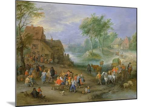 A Village Landscape with Figures Making Merry and Travellers Passing Through a Stream-Theobald Michau-Mounted Giclee Print