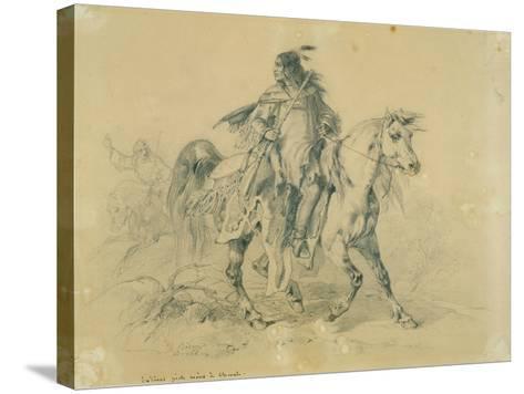 Blackfeet Warrior on Horseback, C.1833-43-Karl Bodmer-Stretched Canvas Print