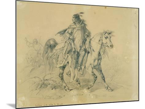 Blackfeet Warrior on Horseback, C.1833-43-Karl Bodmer-Mounted Giclee Print