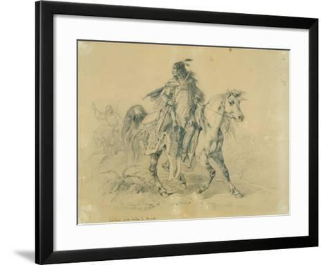 Blackfeet Warrior on Horseback, C.1833-43-Karl Bodmer-Framed Art Print