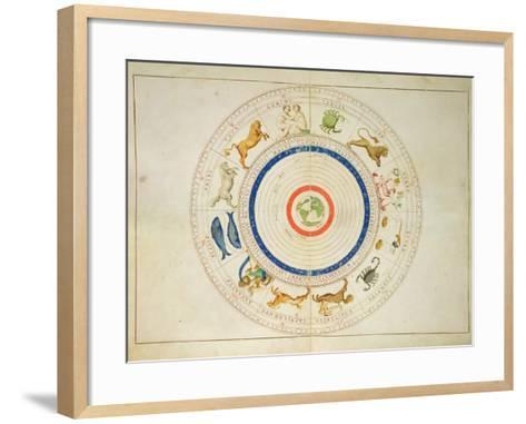 Zodiac Calendar, from an Atlas of the World in 33 Maps, Venice, 1st September 1553-Battista Agnese-Framed Art Print