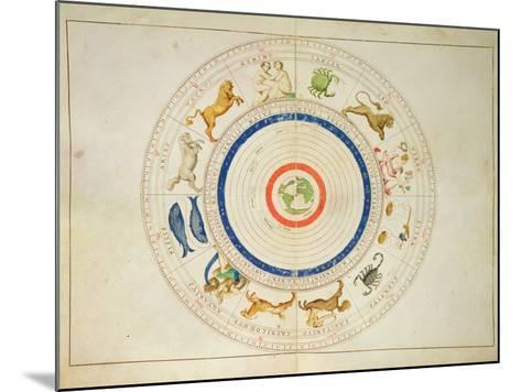 Zodiac Calendar, from an Atlas of the World in 33 Maps, Venice, 1st September 1553-Battista Agnese-Mounted Giclee Print