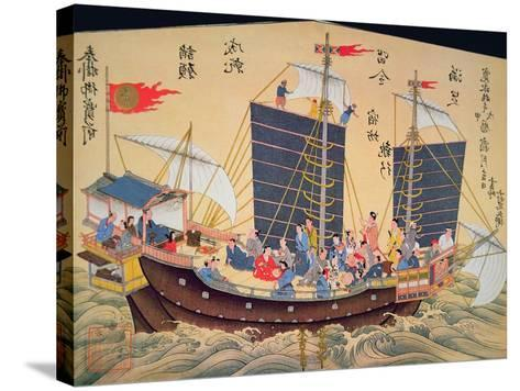 Japanese Merchant Ship of the 18th Century--Stretched Canvas Print