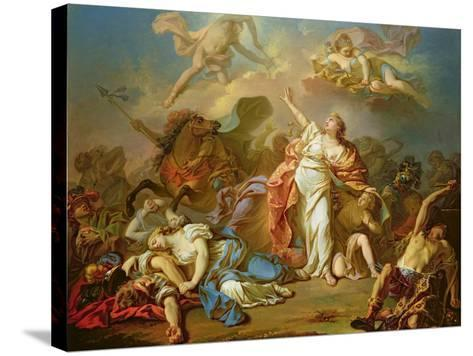 Apollo and Diana Attacking the Children of Niobe-Jacques-Louis David-Stretched Canvas Print