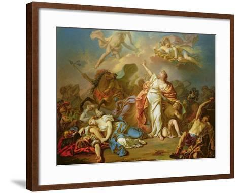Apollo and Diana Attacking the Children of Niobe-Jacques-Louis David-Framed Art Print