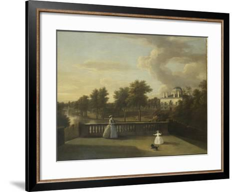 View of Chiswick Villa from a Balcony Above the Cascade with the Lake, 1742-George Lambert-Framed Art Print