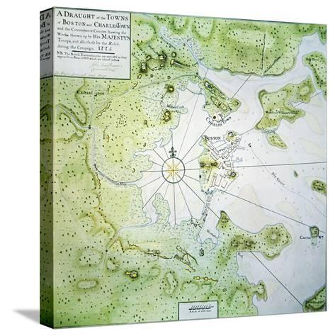 Map of Boston and Charlestown, 1775-John Montresor-Stretched Canvas Print