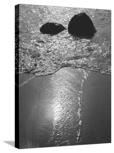 Rock in Sea Water View around Mumbai and Porbandar Area of Gujarat--Stretched Canvas Print