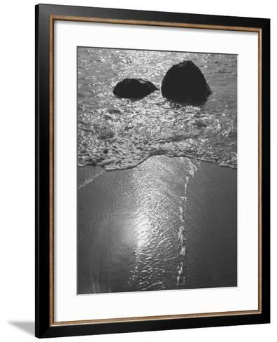 Rock in Sea Water View around Mumbai and Porbandar Area of Gujarat--Framed Art Print