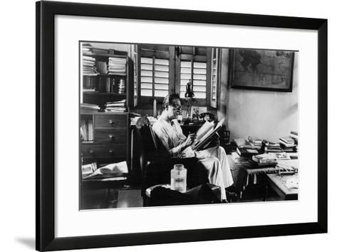 Satyajit Ray at Work in His Apartment--Framed Art Print
