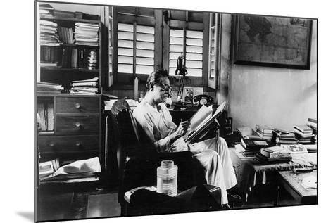 Satyajit Ray at Work in His Apartment--Mounted Photographic Print