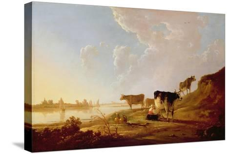 Cows Near a River-Aelbert Cuyp-Stretched Canvas Print