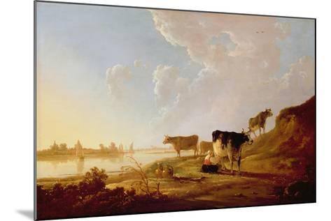 Cows Near a River-Aelbert Cuyp-Mounted Giclee Print