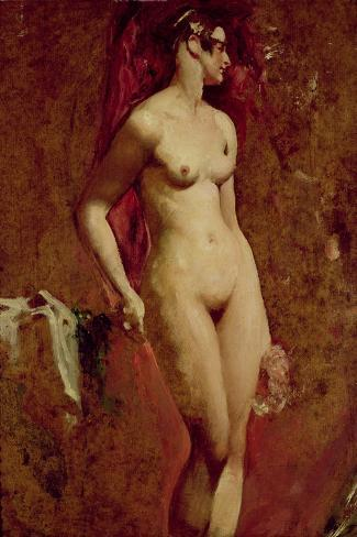 Nude Female Standing-William Etty-Stretched Canvas Print