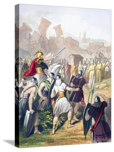 Joshua at the Head of the Israelite Army in Front of the Walls of Jericho--Stretched Canvas Print