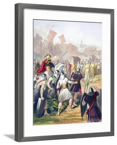 Joshua at the Head of the Israelite Army in Front of the Walls of Jericho--Framed Art Print