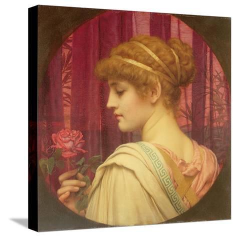 Girl with Red Rose-John William Godward-Stretched Canvas Print