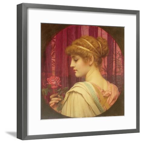 Girl with Red Rose-John William Godward-Framed Art Print