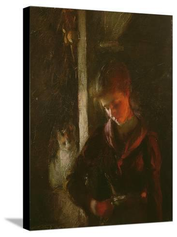 By the Fireside-Frank Bramley-Stretched Canvas Print
