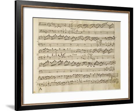 Manuscript Page from the Score of Opus V, 'sonata for Violin, Violone, and Harpsichord'-Arcangelo Corelli-Framed Art Print