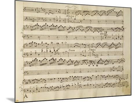 Manuscript Page from the Score of Opus V, 'sonata for Violin, Violone, and Harpsichord'-Arcangelo Corelli-Mounted Giclee Print